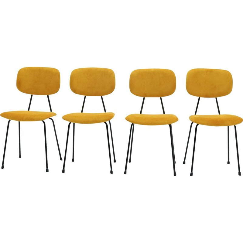 Set of 4 vintage Kembo Dining Chairs in Yellow Ribcord 1950s