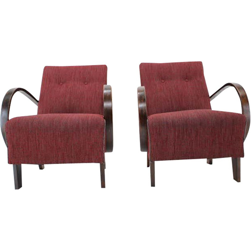 Pair of vintage Armchairs by Jindrich Halabala, Czechoslovakia 1950s