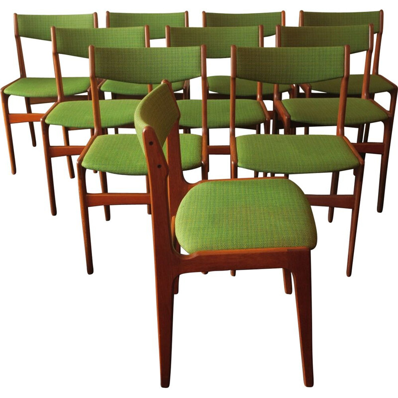 Set of 10 vintage teak chairs by Erik Buch, Danish 1960s