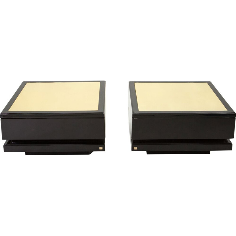 Pair of vintage black lacquered brass side tables J.C. Mahey 1970s