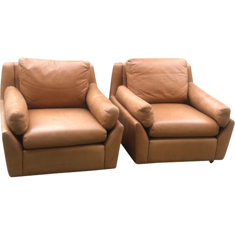 Pair of vintage leather armchairs Edelhard Harlispour Mobilier International, California 1965s