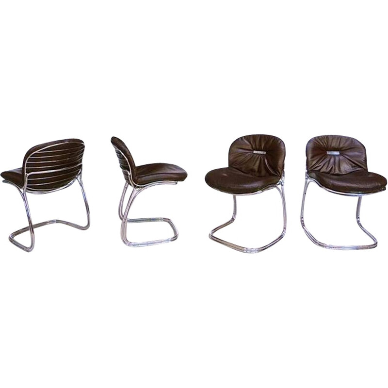 Set of four Rima Italian chairs in metal and leather, Gastone RINALDI - 1970s