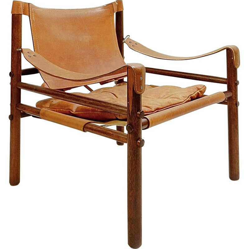 Vintage Safari armchair in rosewood and leather, Sweden 1964s