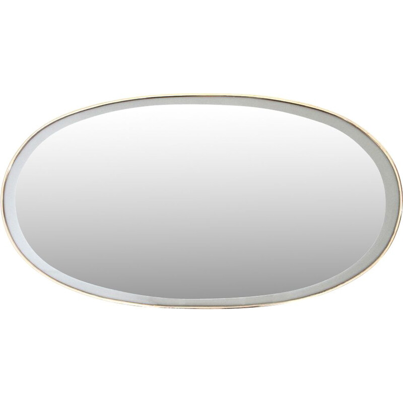 Vintage Oval mirror with brass frame 1950s
