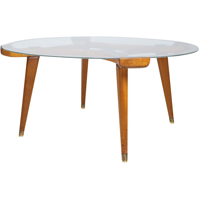 Vintage Round Coffee table in Oak Brass and Glass by Fristho, Netherlands 1955