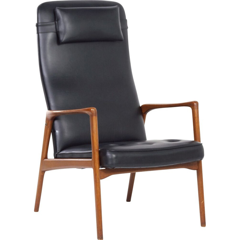 Vintage Armchair in Teak and Black Artificial Leather, Danish 1970s