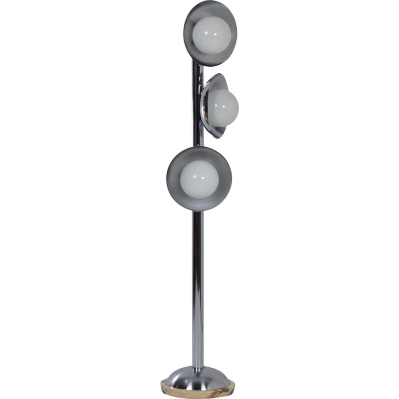 Vintage Floor Lamp with 3 Light Shades Chrome and Marble, Italian 1970s