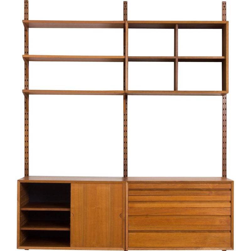 Vintage Poul Cadovius teak Royal wall unit with 3 cabinets and 3 shelves, Denmark 1960s