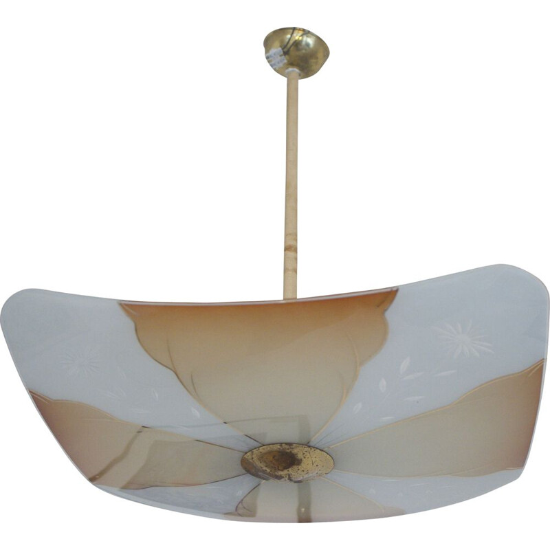 Vintage Square Ceiling Lamp UFO 1950s
