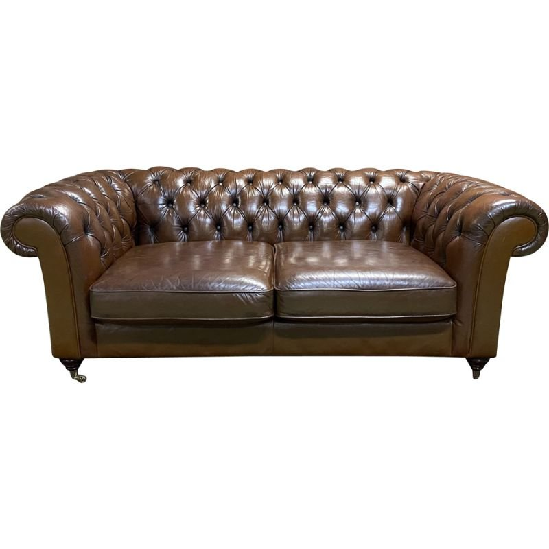 Vintage 3 seater Chesterfield sofa in cognac leather, England 1980s
