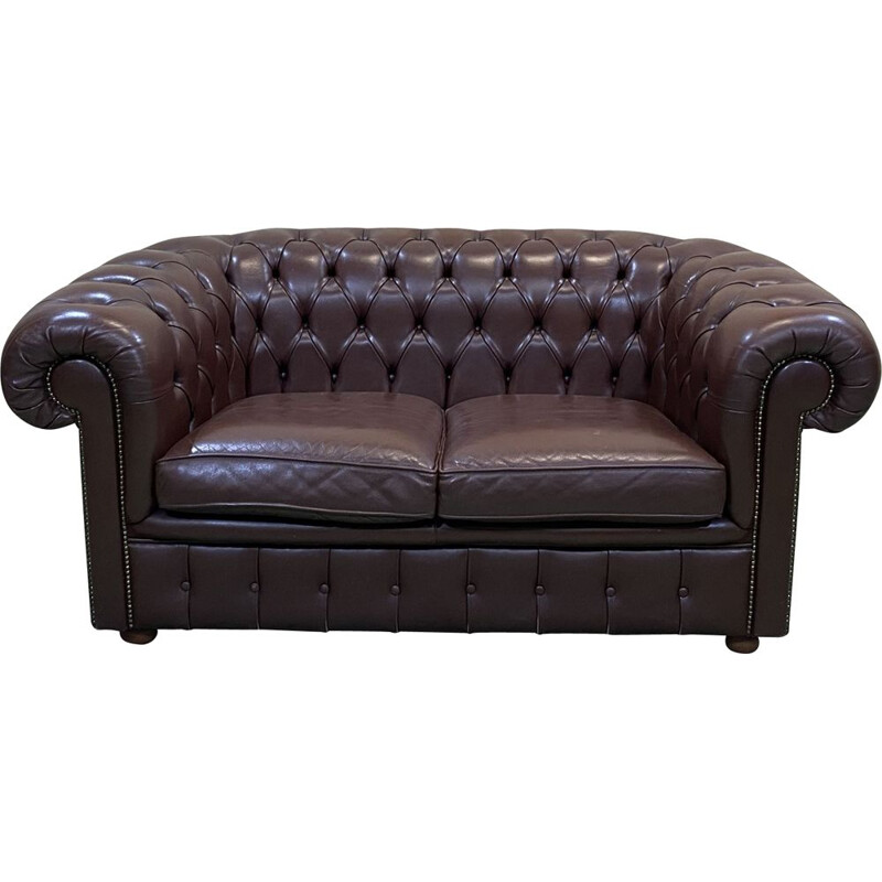 Vintage chocolate leather Chesterfield sofa 1990s