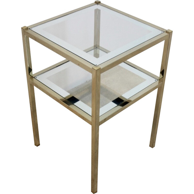 Side table in glass mirror - 1970s
