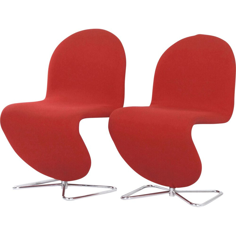 Pair of vintage System 123 in Red Fabric Chairs by Verner Panton for Fritz Hansen 1970s