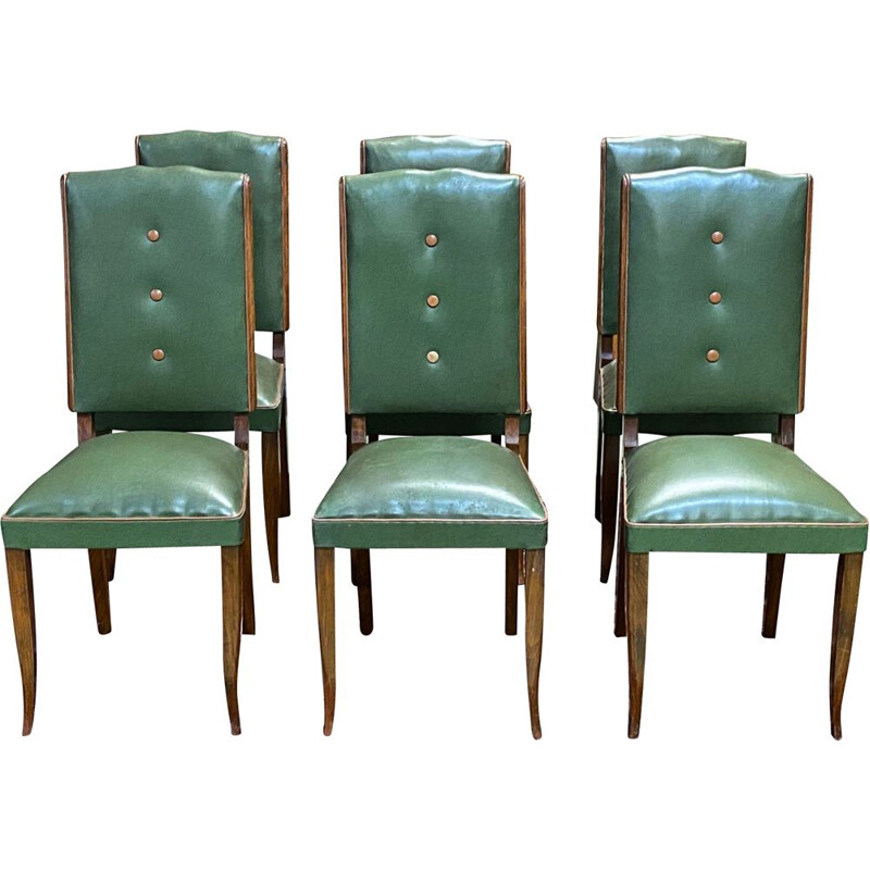 Set of 6 vintage art deco beech and skai chairs
