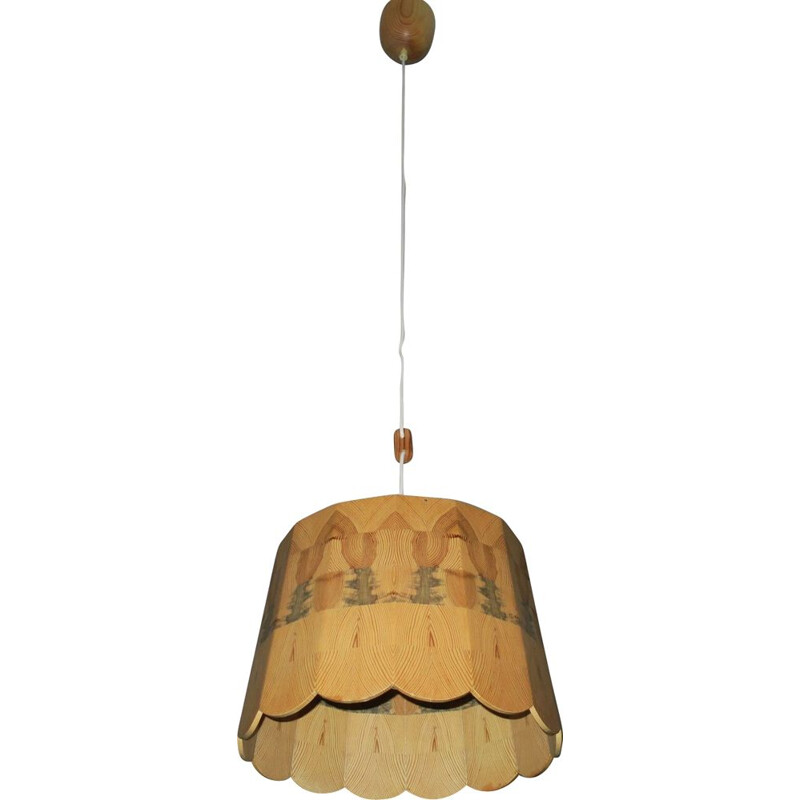 Vintage Ceiling Light with Intricate Wood Patchwork