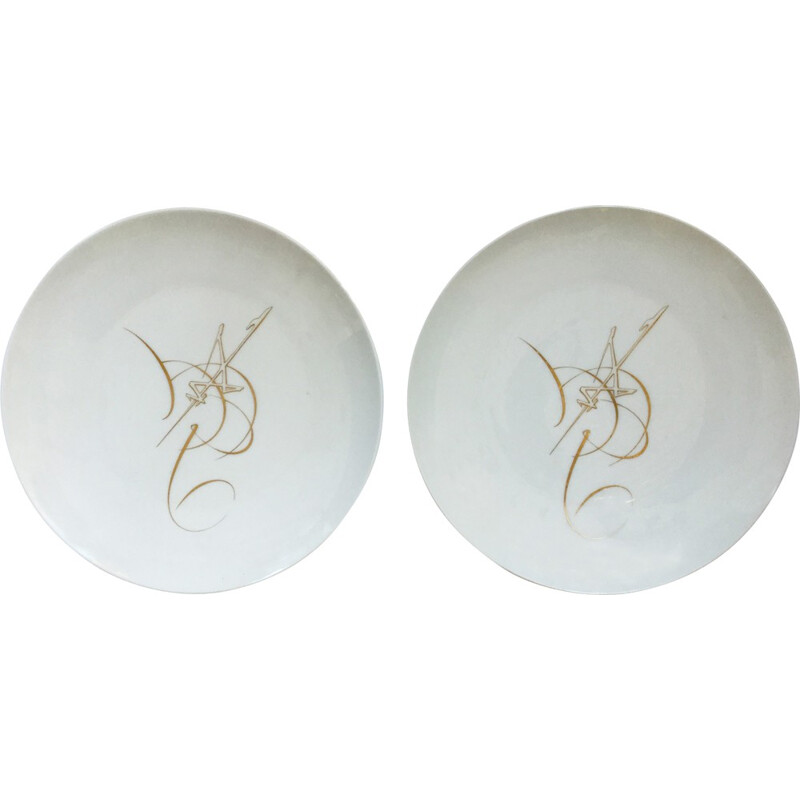 "Pair of ""Manufacture de Sèvres"" plates, George MATHIEU - 1969"