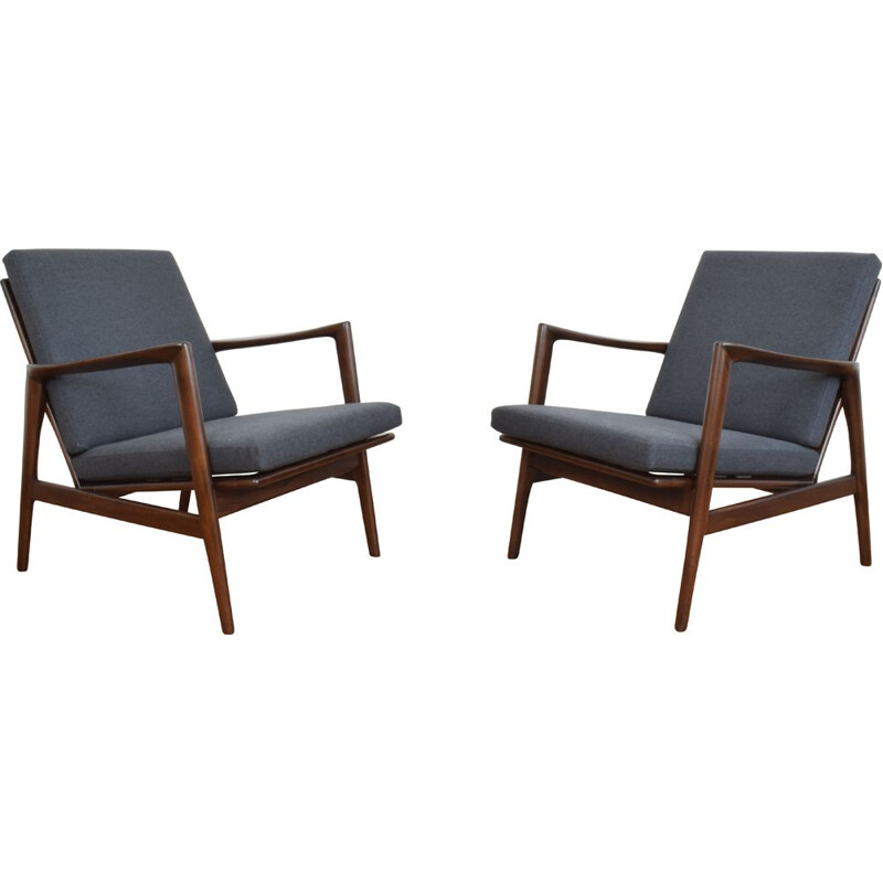 Pair of vintage Lounge Chairs Stefan, Poland 1960s