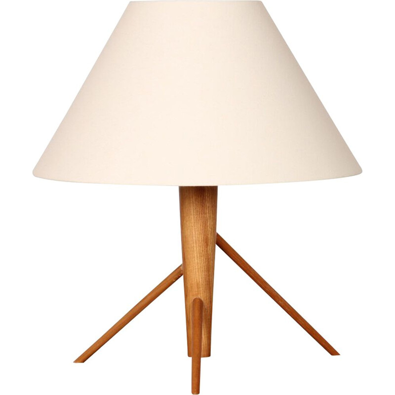 Vintage wooden table lamp, Czech 1960s