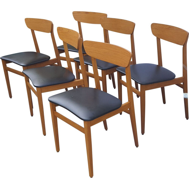 Lot of 6 vintage teak chairs, Scandinavian