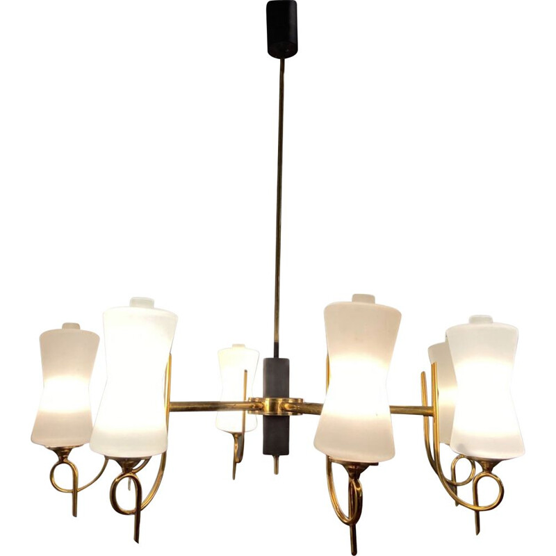 Large vintage Brass Chandelier with Opaline Glass Shades from Stilnovo, 1950s
