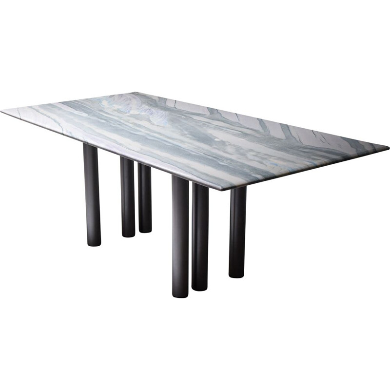 Vintage dining table in grey and purple marble by Pia Manu Belgium 1990