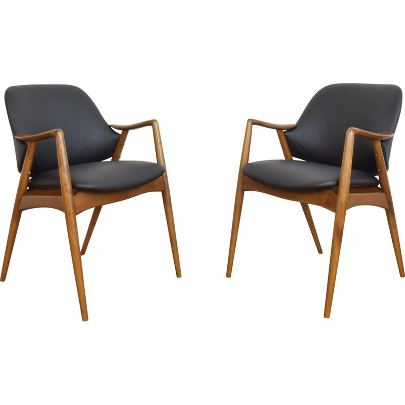 Pair of leather office armchairs by Alf Svensson for Dux, Sweden 1960