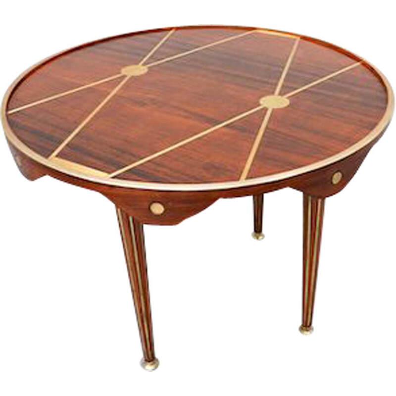 Vintage walnut and brass table, Italy 1940