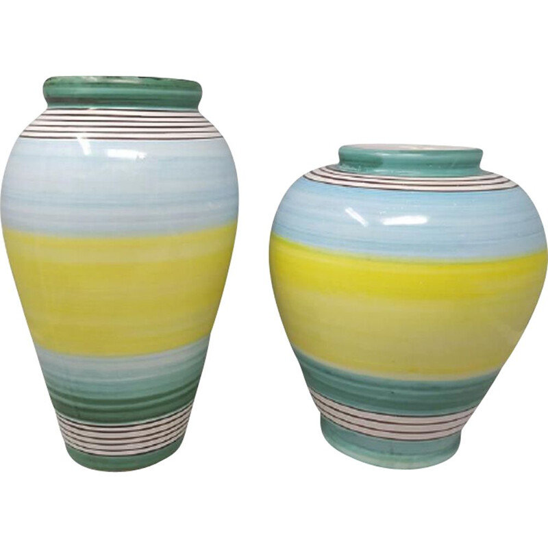 Pair of vintage yellow and blue ceramic vases by Deruta, Italy 1970