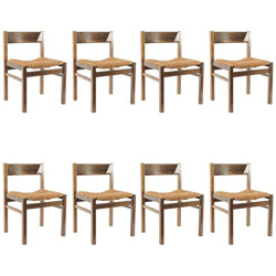 Set of 8 Spectrum dining chairs in reed, Martin VISSER - 1960s
