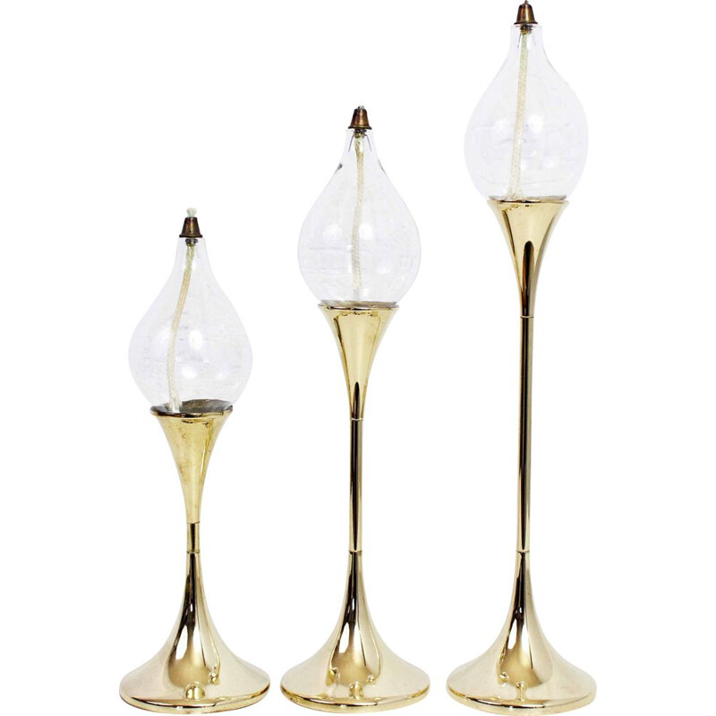 Set of 3 vintage oil lamps by Freddie Andersen 1970