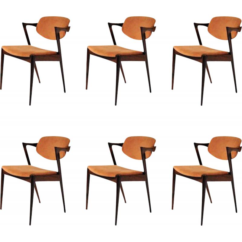 Set of 6 vintage rosewood chairs by Kai Kristiansen 1960