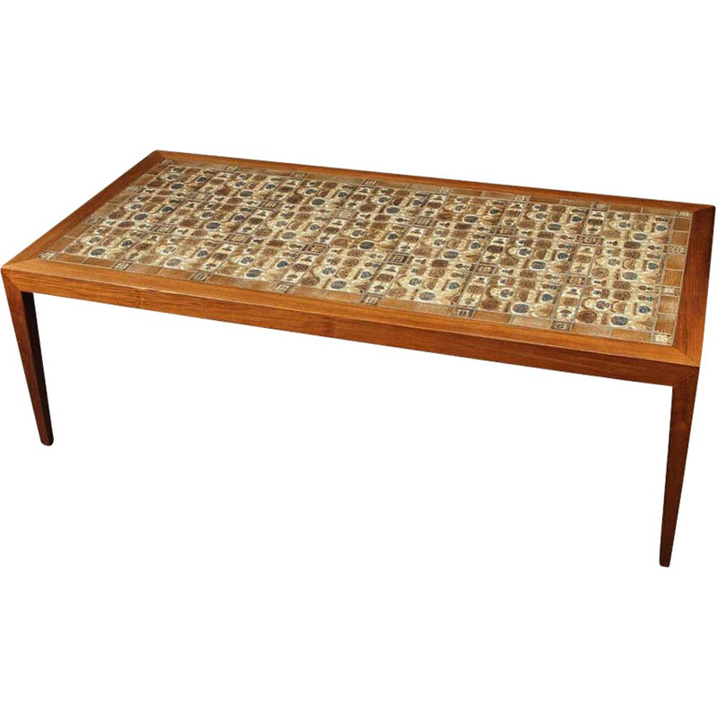 Vintage rosewood coffee table with the Royal Copenhagen tiles by Severin Hansen 1970