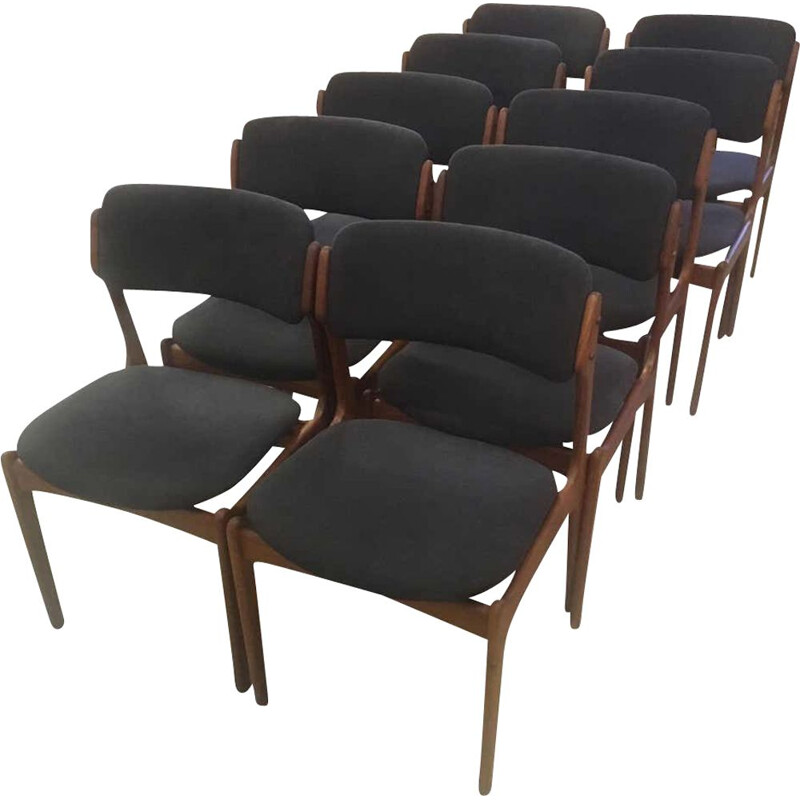 Lot of 10 vintage teak chairs by Erik Buch 1960