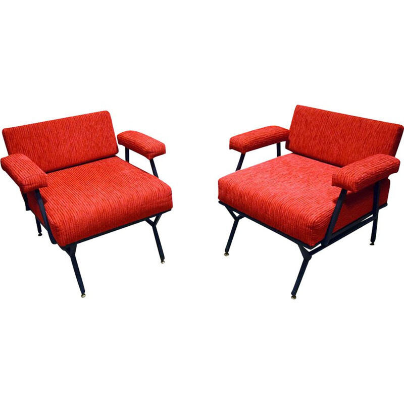 Pair of vintage corduroy armchairs, Italy 1950