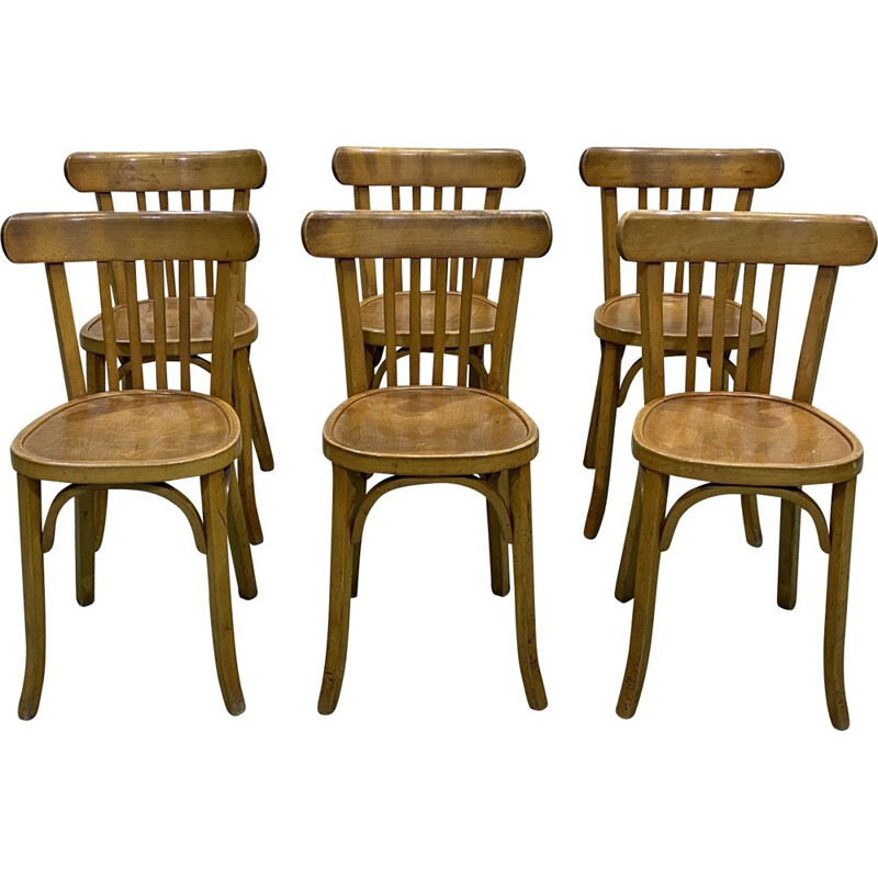 Set of 6 vintage chairs Macon bistro Baumann 1950s