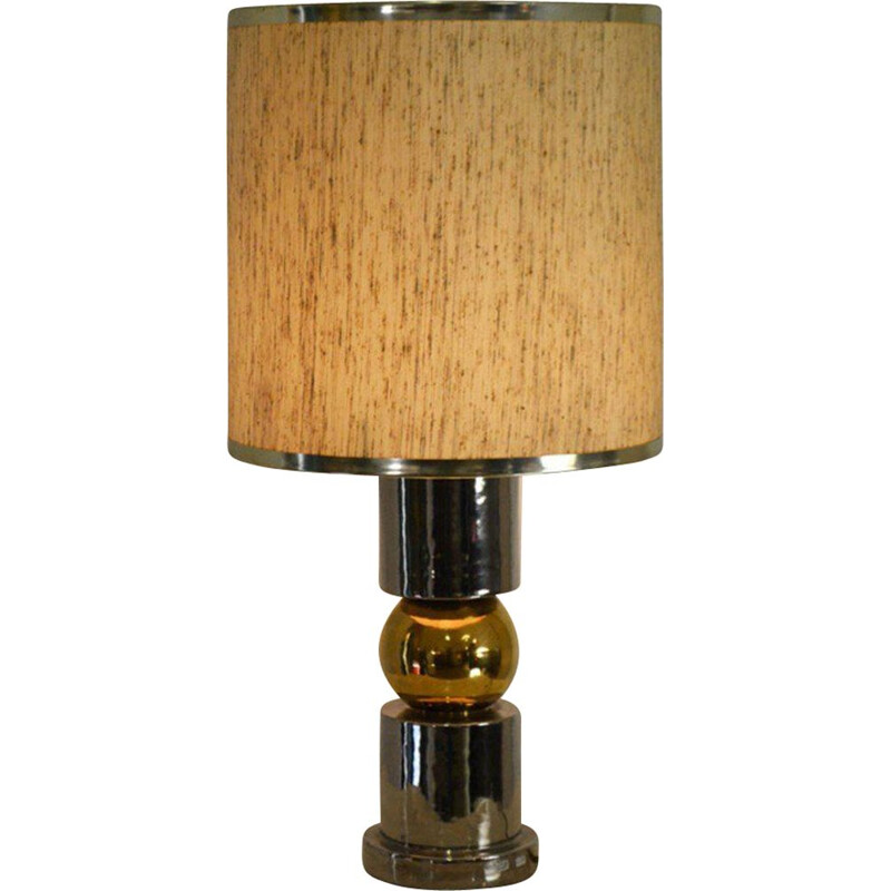 Vintage table lamp in ceramic, gold and silver from Ceramiche Zaccagnini, Italy 1960