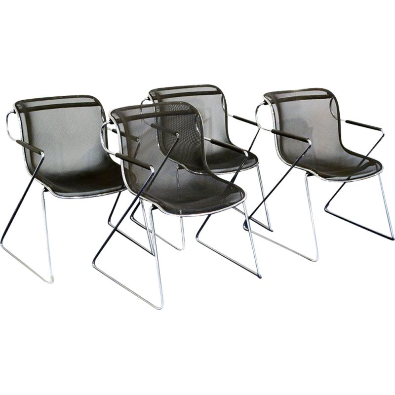 Set of 4 vintage metal Penelope chairs by Charles Pollock for Anonima Castelli 1982
