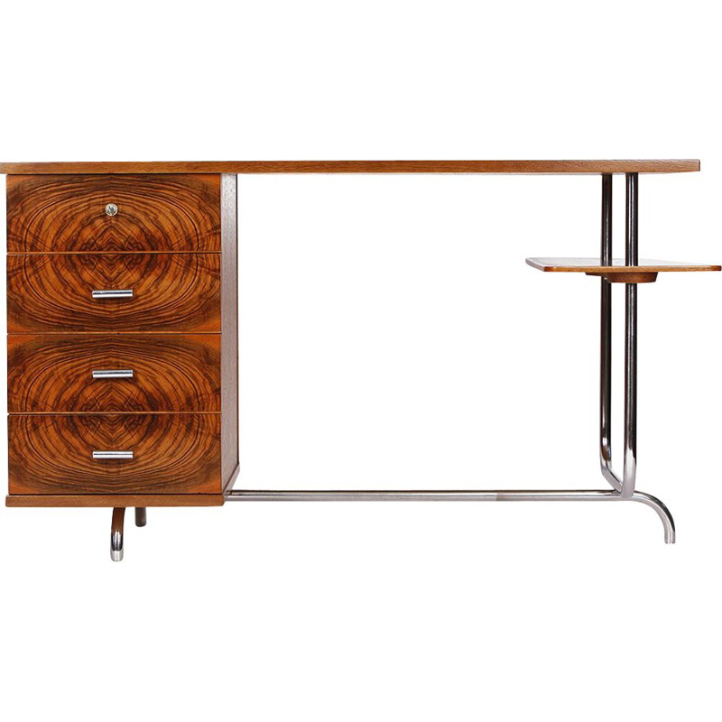 Vintage chrome desk by Jindrich Halabala for UP Zavody, Art Deco, Czech Republic 1930