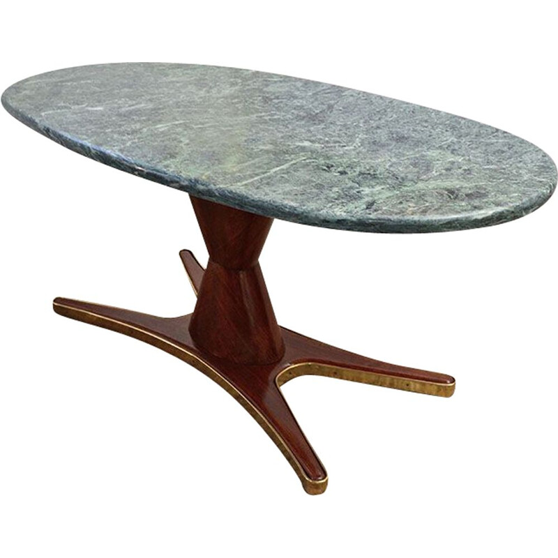 Vintage dining table in rosewood and marble by Vittorio Dassi for Mobili Moderni Lissone 1950