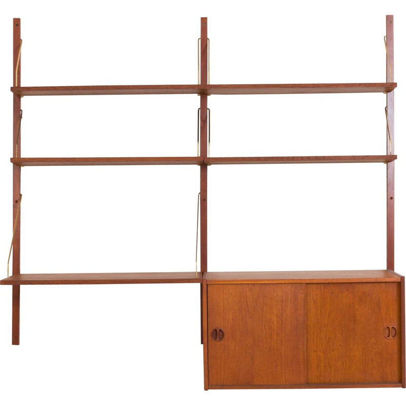 Vintage teak wall unit with a desk and a sliding door locker, Denmark