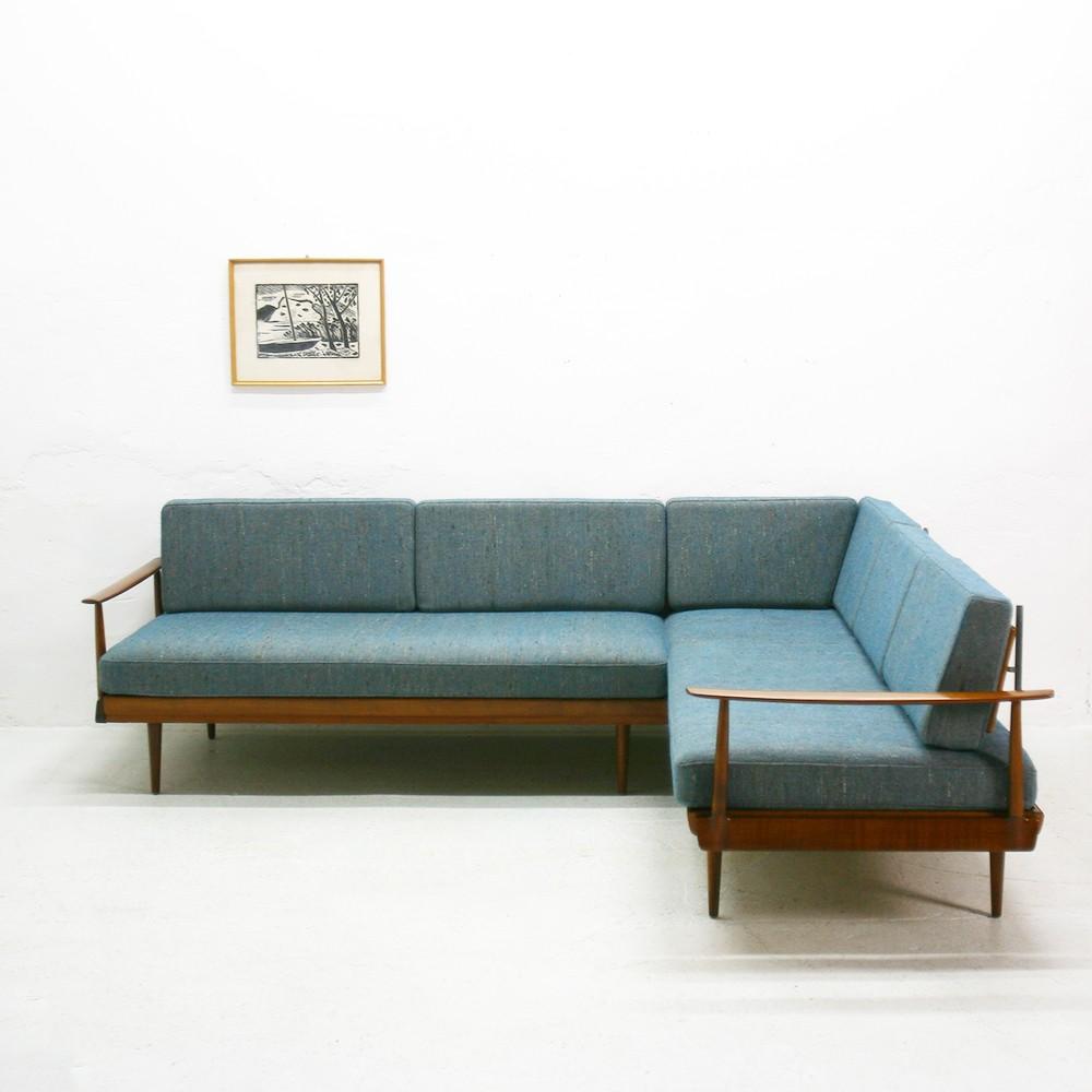 vintage convertible knoll antimott corner sofa 1960s design market. Black Bedroom Furniture Sets. Home Design Ideas