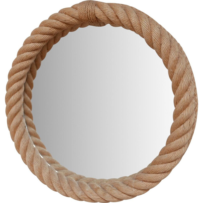 Vintage Audoux Minet Rope Cord Mirror, French 1960s