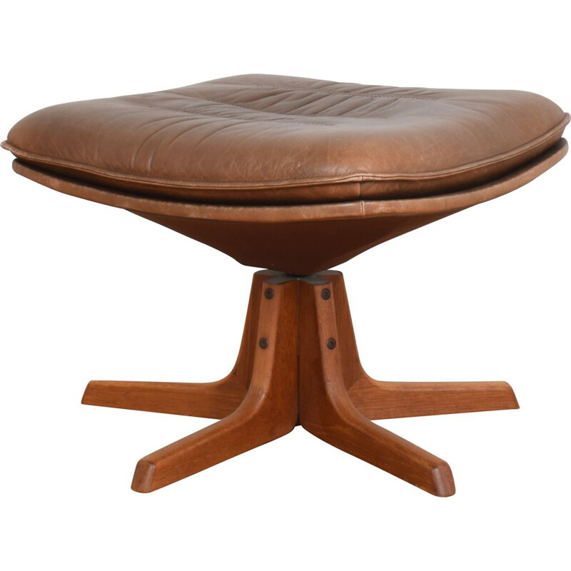 Vintage Teak & Leather Footstool from Berg, Danish 1970s