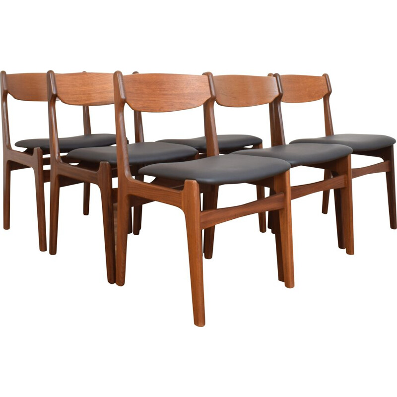 Set of 6 vintage Teak Dining Chairs by Erik Buch, Danish 1960s