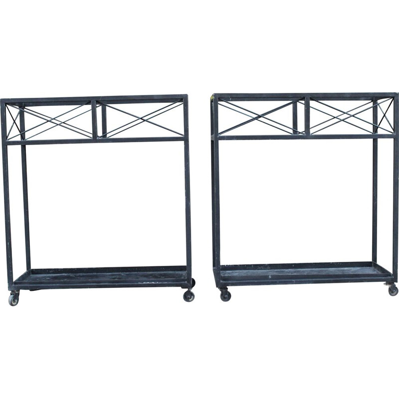 Pair of vintage planters in black lacquered wrought iron, Italian 1980s