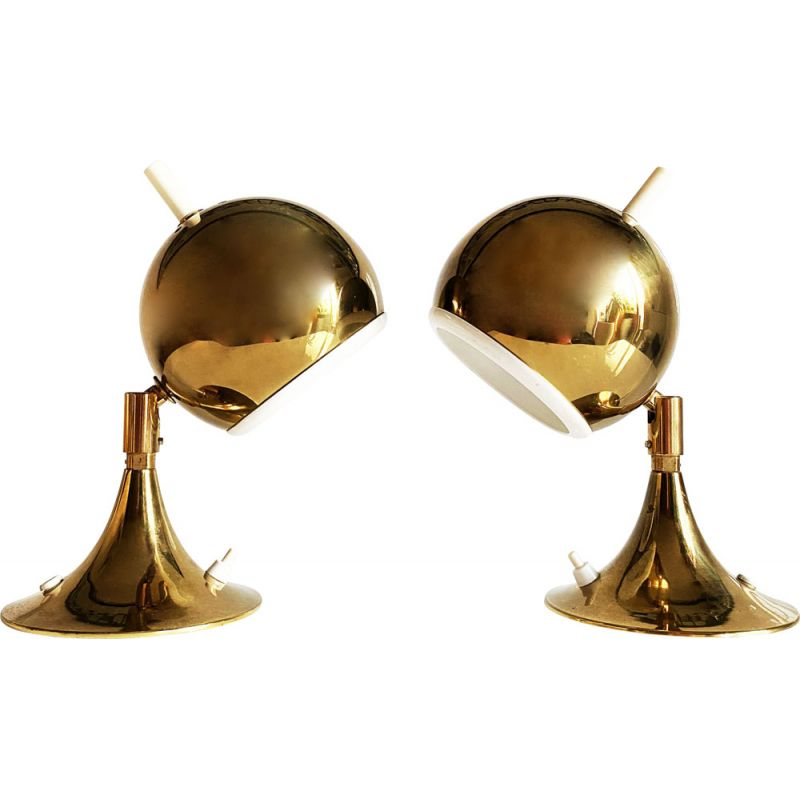 """Pair of vintage Space Age """"Eyeball"""" lamps by Otto Meinzzer, Germany 1970s"""