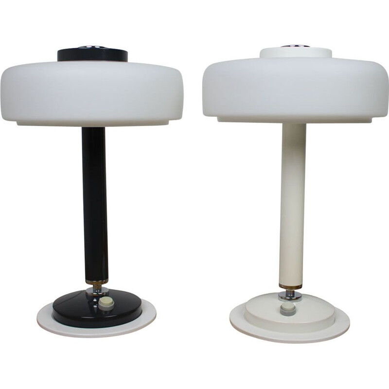 Pair of vintage black & white table lamps Napako, Czechoslovakia 1960s