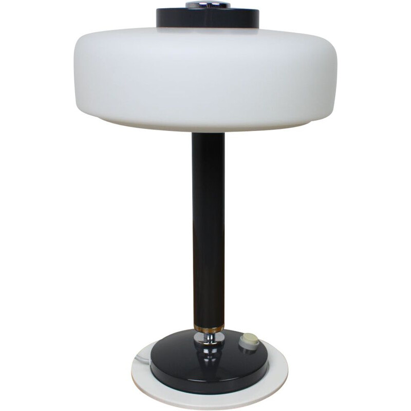 Mid-century black & white table lamp Napako, Czechoslovakia 1960s