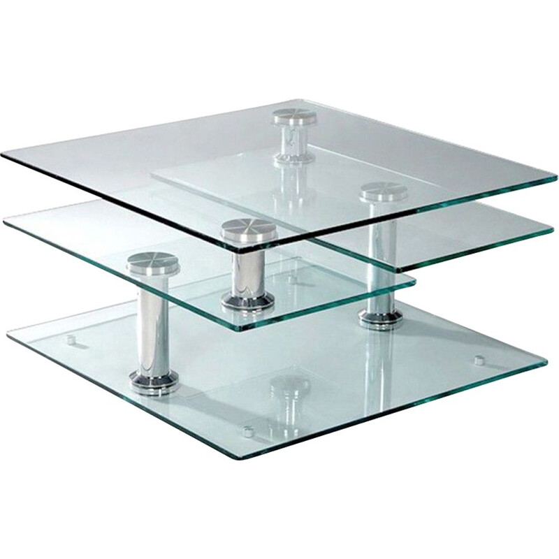 Vintage Modular coffee table in glass and chrome