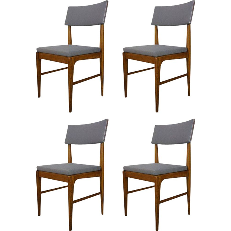 Set of 4 vintage teak steel and fabric chairs for Belform, Dutch 1950s